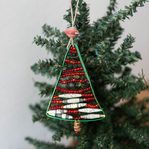 Wire and Bead Christmas Tree Ornament