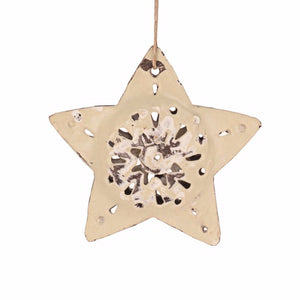 Metal Star Ornament | White , Vineworks - Vineworks Fair Trade