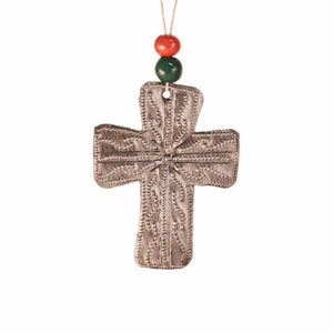 Metal Cross and Clay Beads Ornament , Vineworks - Vineworks Fair Trade