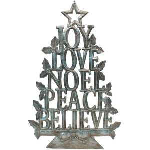 """Joy, Love, Noel, Peace, Believe"" Christmas Tree 
