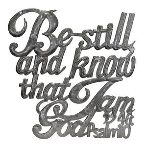 """Be Still and Know"" Word Art , Vineworks - Vineworks Fair Trade"