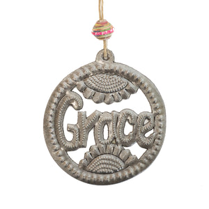 Round Word Ornament | Grace , Vineworks - Vineworks Fair Trade