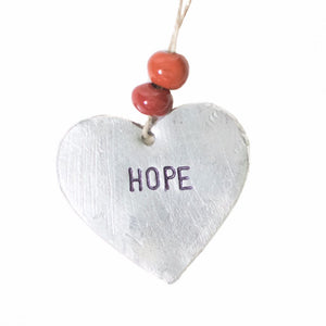 "Aluminum ""Hope"" Heart , Vineworks - Vineworks Fair Trade"