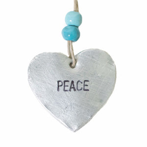 "Aluminum ""Peace"" Heart , Vineworks - Vineworks Fair Trade"