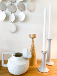 WHITE CERAMIC DISC WALL SCULPTURE