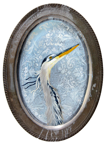 BIRD PAINTING ON TRAY - BLUE HERON