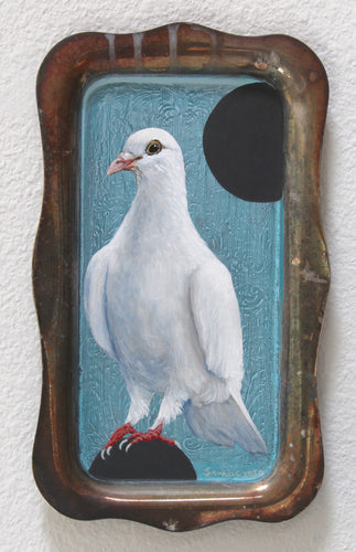 BIRD PAINTING ON TRAY - DOVE