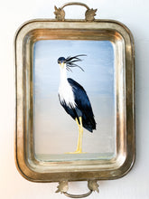 Load image into Gallery viewer, CRANE ON VINTAGE TRAY ORIGINAL ART