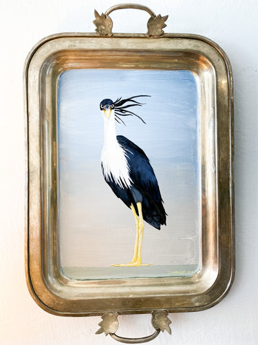 CRANE ON VINTAGE TRAY ORIGINAL ART