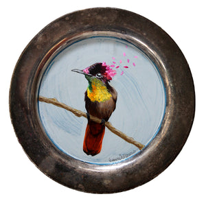 BIRD PAINTING ON TRAY - HUMMINGBIRD