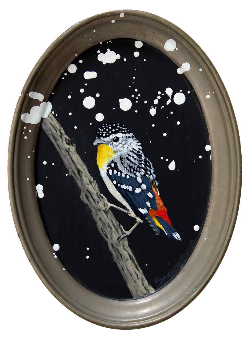 BIRD PAINTING ON TRAY - SPOTTED