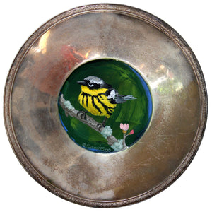 BIRD PAINTING ON TRAY - STRIPED