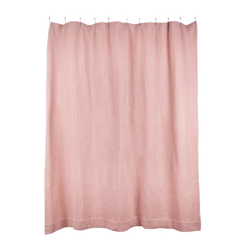 SIMPLE WAFFLE SHOWER CURTAIN - BLUSH