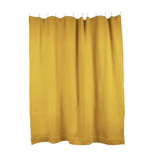 SIMPLE WAFFLE SHOWER CURTAIN - MUSTARD