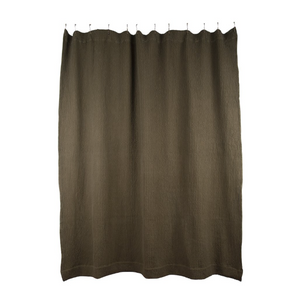 SIMPLE WAFFLE SHOWER CURTAIN - OLIVE