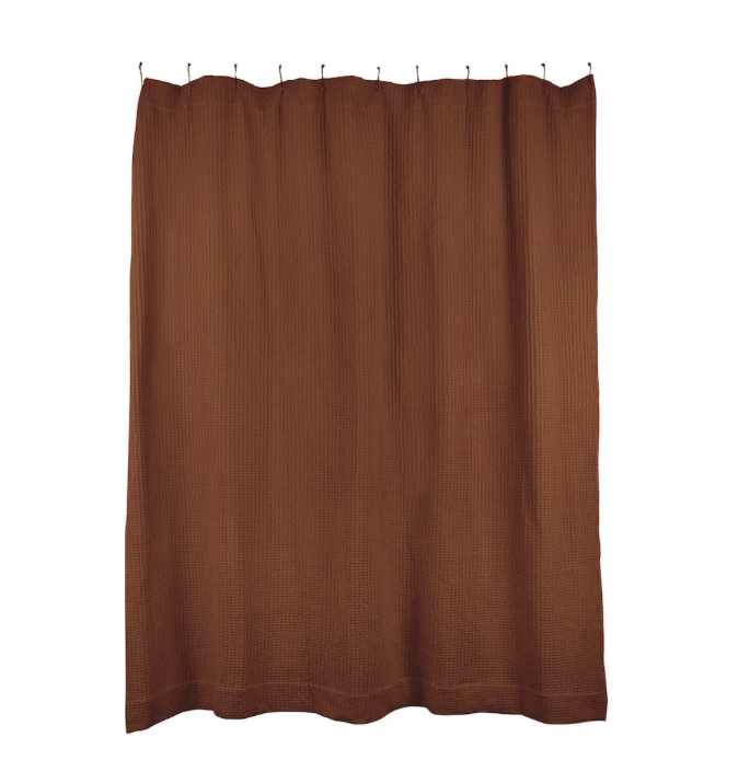 SIMPLE WAFFLE SHOWER CURTAIN - TERRA COTTA