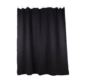 SIMPLE WAFFLE SHOWER CURTAIN - BLACK