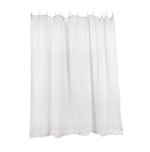SIMPLE WAFFLE SHOWER CURTAIN - WHITE