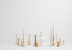 SIMPLE WOOD CANDLESTICKS - GREY