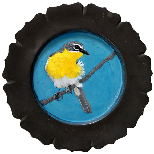 BIRD PAINTING ON TRAY - YELLOW CHAT