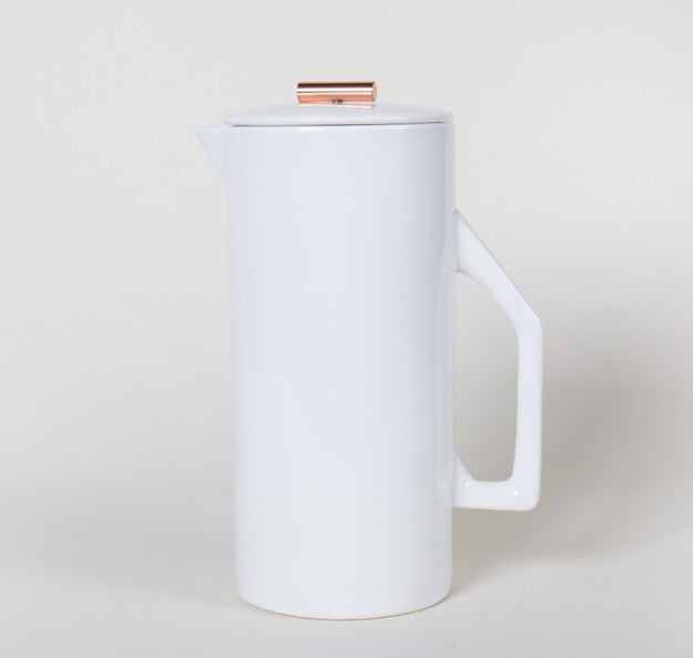 CERAMIC & COPPER FRENCH PRESS  - CREAM