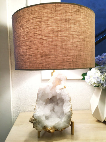 PAIR OF QUARTZ GEODE LAMPS