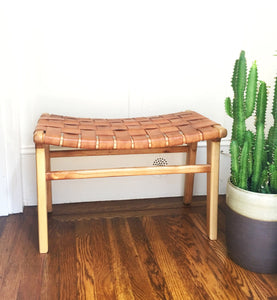 LEATHER STRAP BENCH OTTOMAN