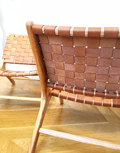 LEATHER STRAP LOUNGE CHAIR