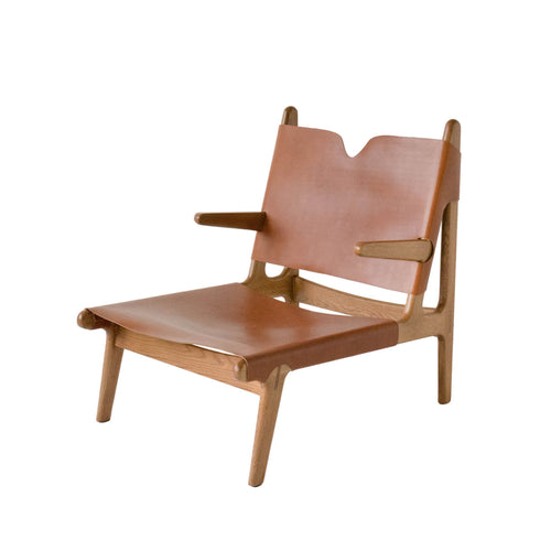 OAK & LEATHER BUCKLE CHAIR - CARAMEL