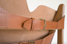 Load image into Gallery viewer, OAK & LEATHER BUCKLE CHAIR - CARAMEL