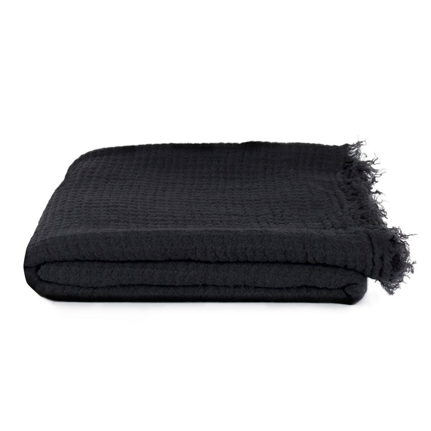 SIMPLE LINEN THROW BLANKET - BLACK