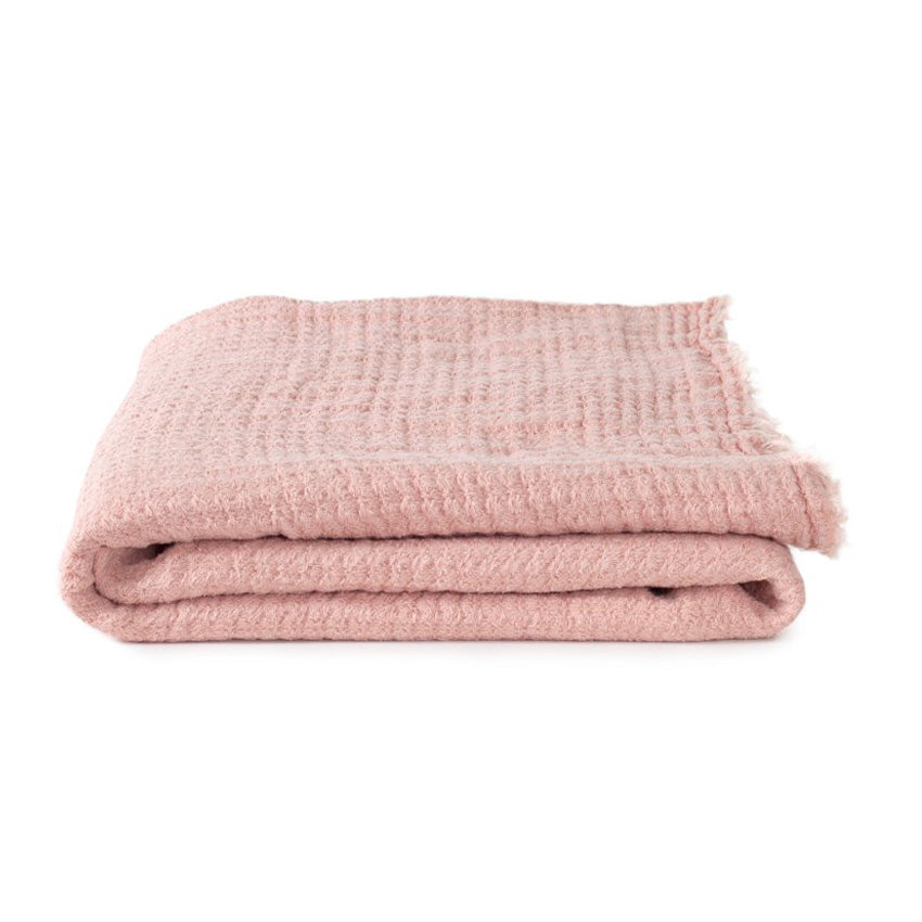 SIMPLE LINEN THROW BLANKET - BLUSH