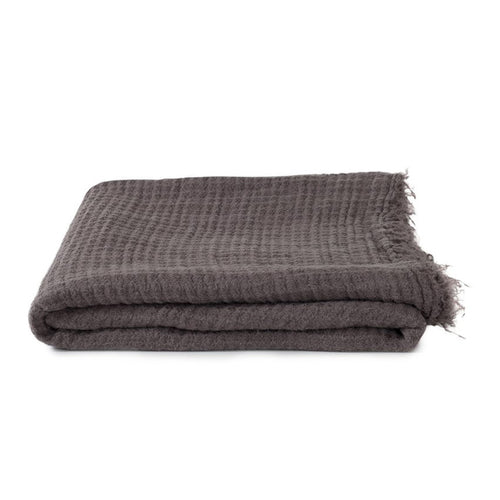 SIMPLE LINEN THROW BLANKET - DARK GREY