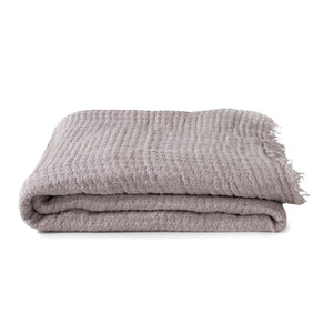 SIMPLE LINEN THROW BLANKET - LIGHT GREY