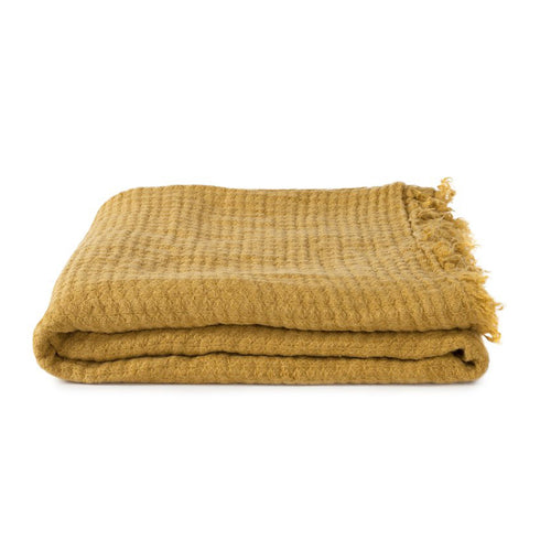 SIMPLE LINEN THROW BLANKET - MUSTARD