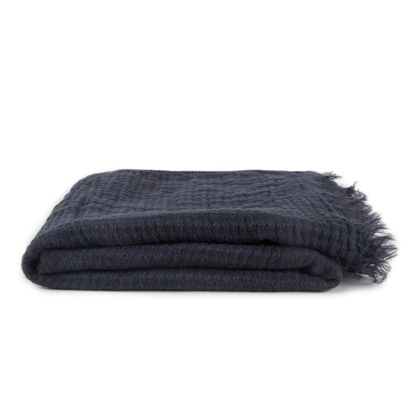 SIMPLE LINEN THROW BLANKET - NAVY
