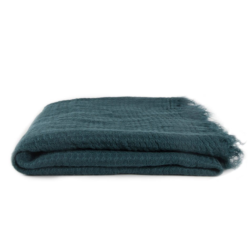 SIMPLE LINEN THROW BLANKET - PEACOCK