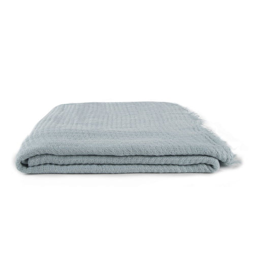 SIMPLE LINEN THROW BLANKET - SKY