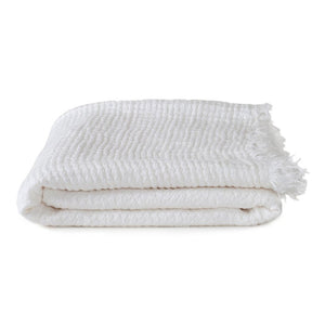 SIMPLE LINEN THROW BLANKET - WHITE