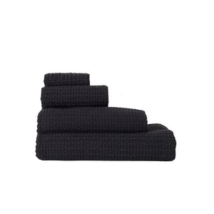SIMPLE WAFFLE TOWELS - BLACK