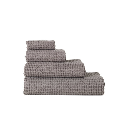 SIMPLE WAFFLE TOWELS - DARK GREY