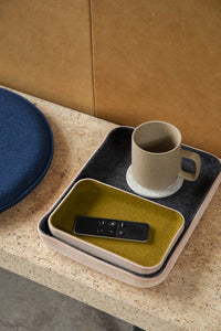 LARGE LEATHER & WOOL TRAY - HEATHER BLACK