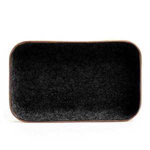 SMALL LEATHER & WOOL TRAY - HEATHER BLACK