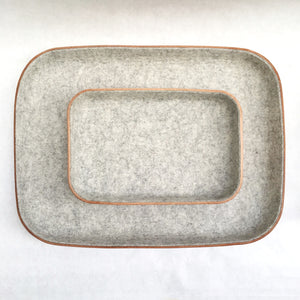 LARGE LEATHER & WOOL TRAY - GRANITE