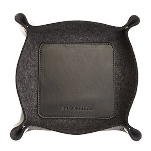LEATHER & WOOL VALET TRAY - CHARCOAL