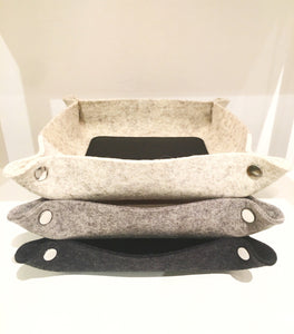 LEATHER & WOOL VALET TRAY - GRANITE