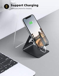 Cell Phone Stand, Phone Dock: Cradle, Holder, Stand for Office Desk - Black