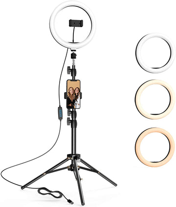 10.2 inch Selfie Ring Light with Tripod Stand & 2 Phone Holders