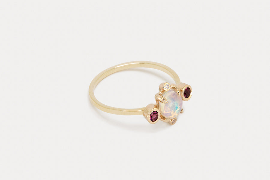 Astral Ring <br> Opal & Garnet ⟡  Gold