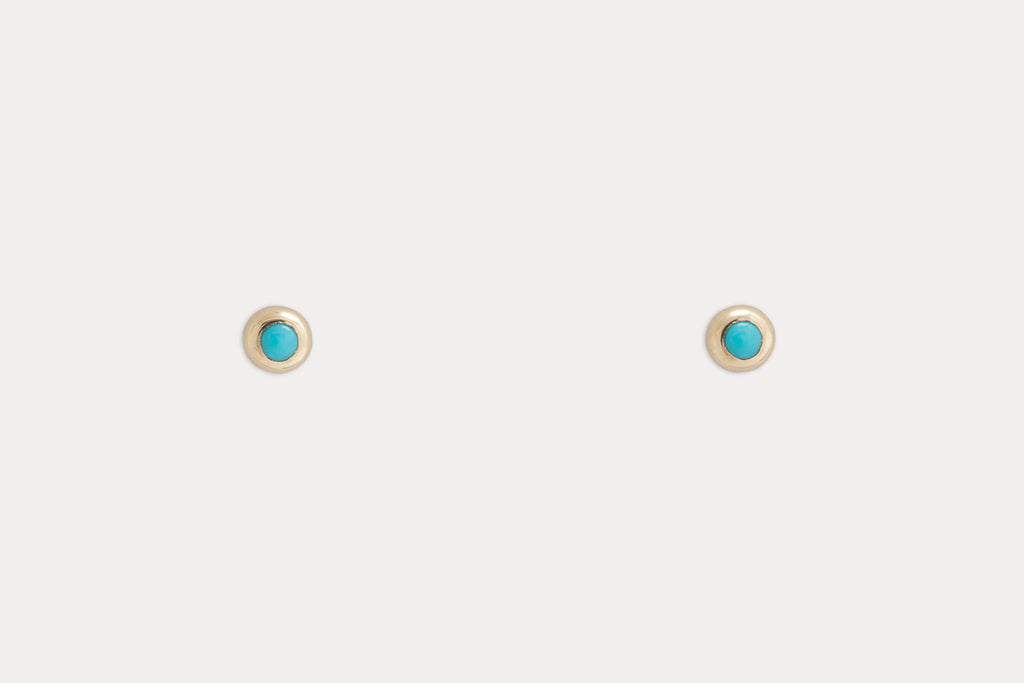 Baby Pip Studs <br> Turquoise ⟡ Gold